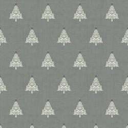 tissu patchwork gris de noel imprimé de sapins