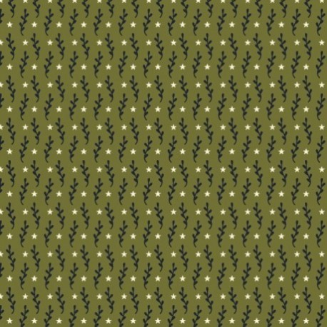 """tissu patchwork vert """"PRIMITIVE STITCHES"""""""