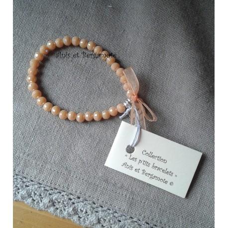 Les P'tits Bracelets cristal coloris pêche opaque AB