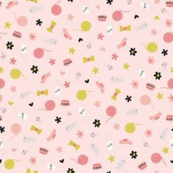 tissu patchwork saumon thème chat