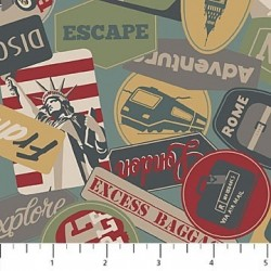 tissu patchwork sur le thème des voyages