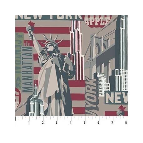 tissu patchwork imprimé new york