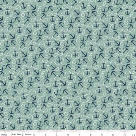 tissu patchchwork vert et bleu marin avec des ancres