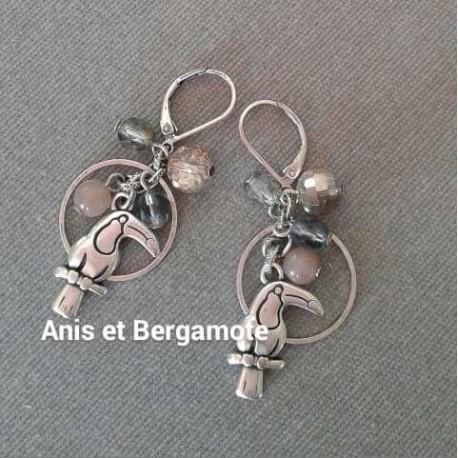 Boucles d'oreilles FLAMANT ROSE