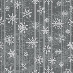"tissu patchwork de noel, gris imprimé cristaux de givre collection ""Red and Grey Christmas"""
