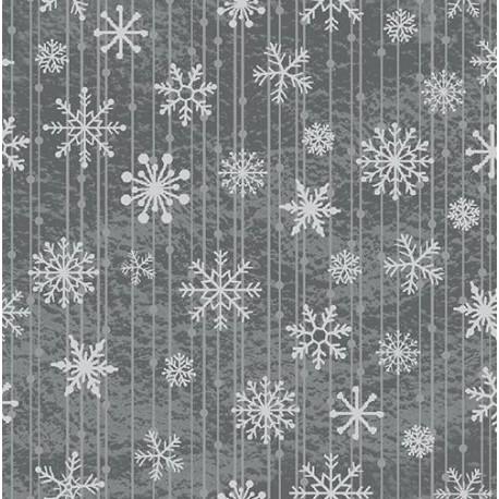 """tissu patchwork de noel, gris imprimé cristaux de givre  collection """"Red and Grey Christmas"""""""