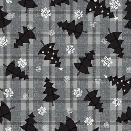 tissu patchwork noel, sapins en noir sur fond écossais