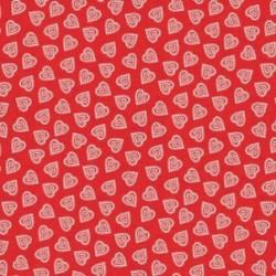 tissu patchwork rouge avec des coeurs, collection Scandi