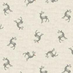 tissu patchwork écru avec des rennes, tissu de noel, collection Scandi