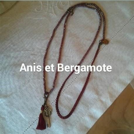 Sautoir perles cristal rouge AB,  pampille métal, pompon