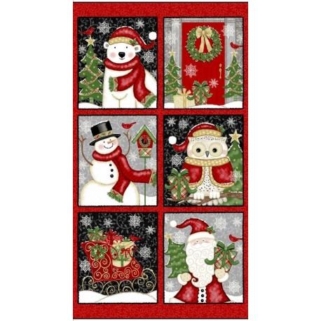 panneau de tissu patchwork sur le thème de Noël
