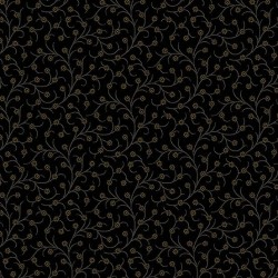 "tissu patchwork noir collection ""Trinkets"" ""vining flower in black"""