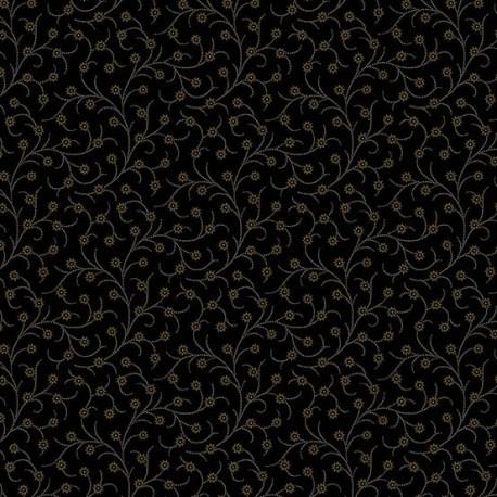 """tissu patchwork noir collection """"Trinkets"""" """"vining flower in black"""""""