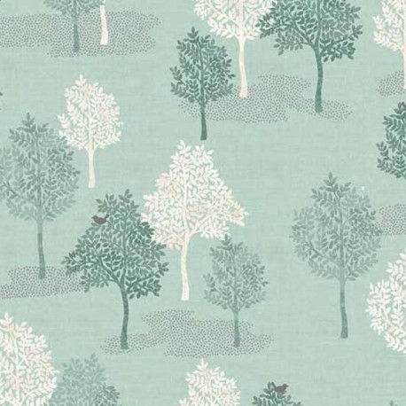"tissu patchwork vert clair imprimé d'arbres collection ""Woodland"""