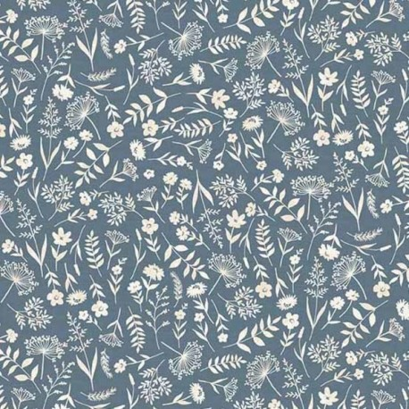 "tissu patchwork fleuri bleu collection ""Woodland"""