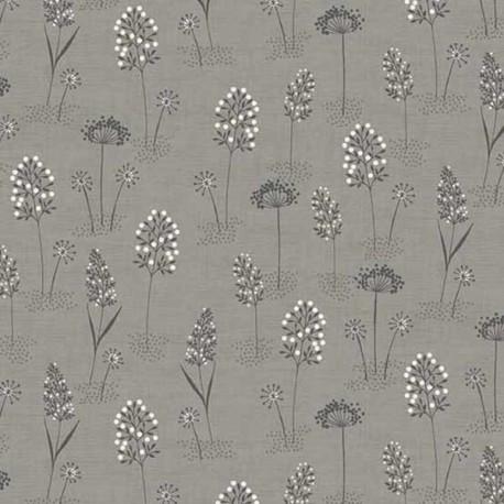 """tissu patchwork fleuri sur fond gris collection """"Woodland"""""""