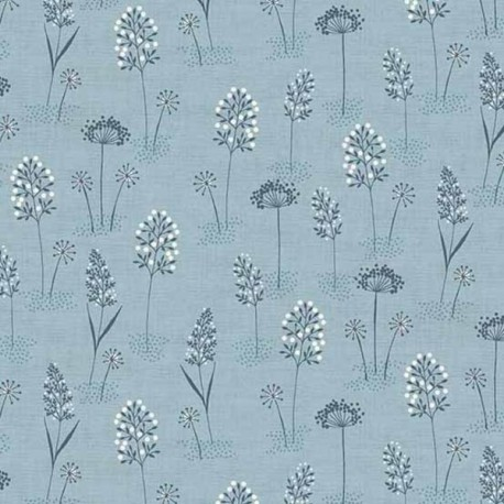 "tissu patchwork fleuri fond bleu collection ""Woodland"""