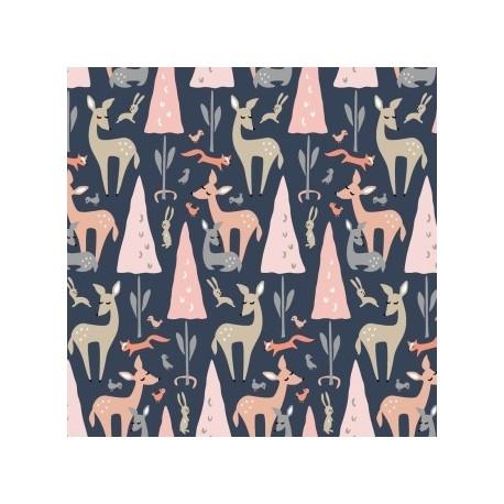 tissu patchwork imprimé biches