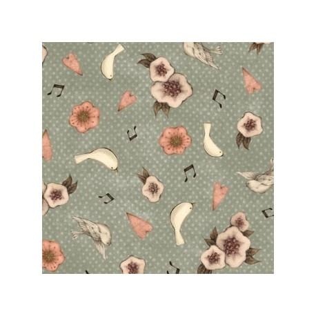 tissu patchwork fleuri bleu vert Lost song Mirabelle par Santoro