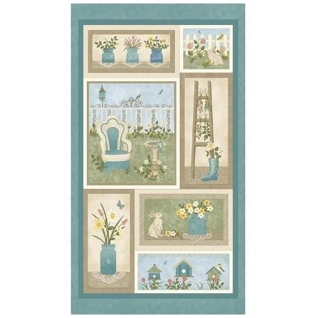 My secret Garden, panneau de tissu patchwork Benartex