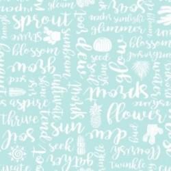 tissu patchwork bleu clair avec des ecritures estivales