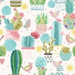 tissu patchwork avec des oiseau et des cactus