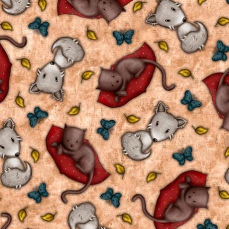 Gorjuss- Collection My Story- chats et renards, fond crème foncé