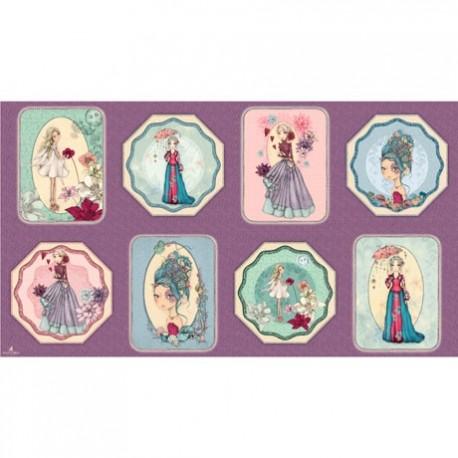 Mirabelle - collection Midnight Garden Panneau de tissu patchwork