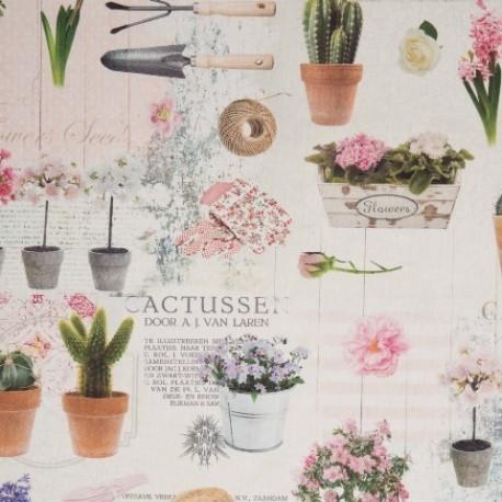 Tissu Jardin Rose