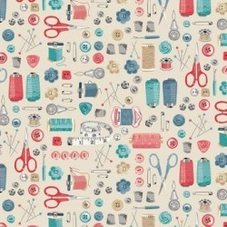 """tissu patchwork thème couture, collection """"Stitch In Time"""""""