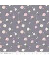 tissu patchwork fleuri gris
