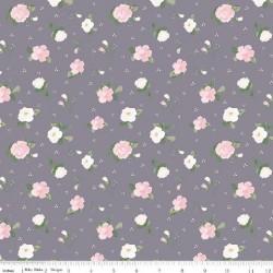 tissu patchwork fleuri gris et rose