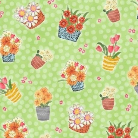 tissu patchwork fleuri vert henry glass
