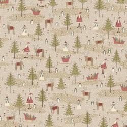 tissu patchwork Anni downs Winter Wonderland 0334 sapins et père noël taupe