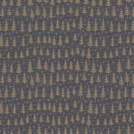 tissu patchwork noël, sapins de Noël, fond bleu foncé