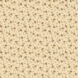 tissu patchwork fleuri rouille fond beige Buttermilk blossoms,