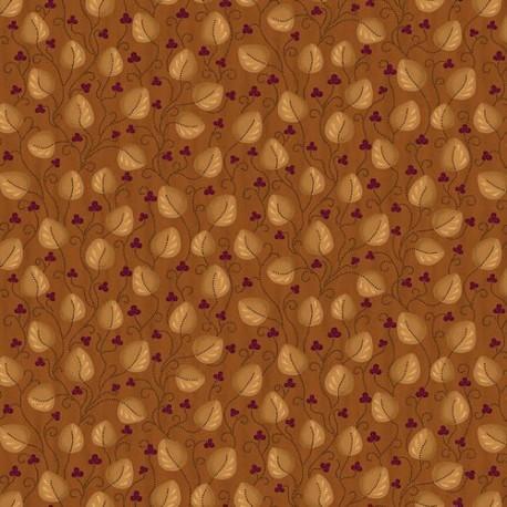 tissu patchwork rouille avec feuilles et fleurs