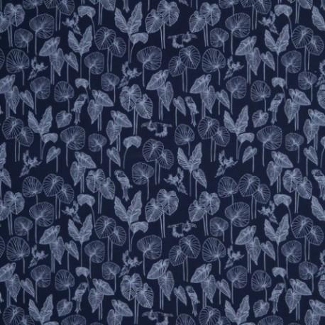 Tissu d'ameublement bleu, feuilles et toucan