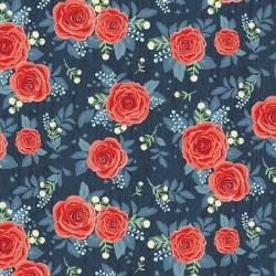 tissu patchwork bleu à fleurs rouge 3023