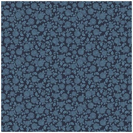 tissu patchwork à fleurs bleu 3026