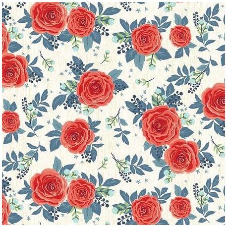 tissu patchwork à fleurs rouge 3035