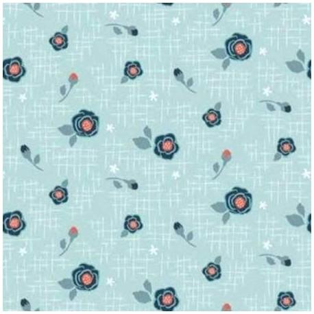 tissu patchwork à petites fleurs bleu sur fond bleu clair