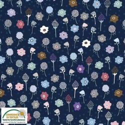 tissu patchwork fleuri bleu foncé