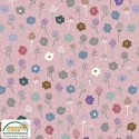 tissu patchwork fleuri fond rose