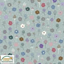tissu patchwork fleuri fond gris bleu