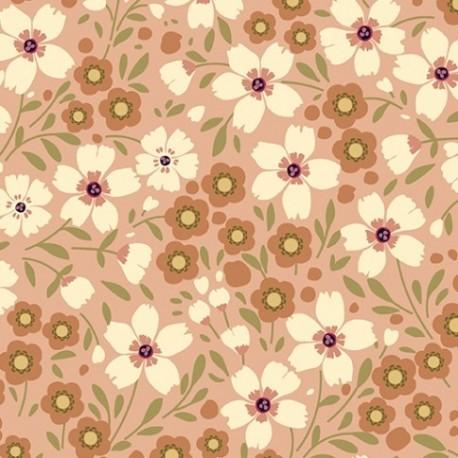 tissu patchwork fleuri saumon