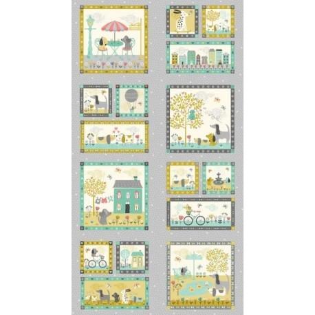 panneau de tissu patchwork, etiquettes
