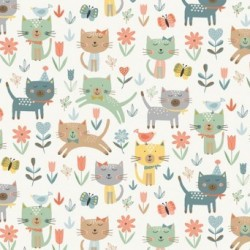 tissu patchwork impression de chats