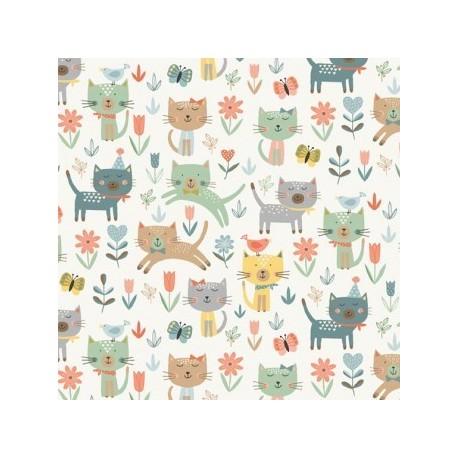 tissu patchwork impression de chats