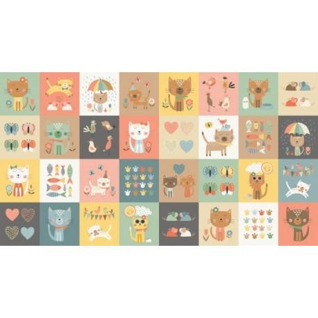 tissu patchwork panneau étiquettes avec impression de chats